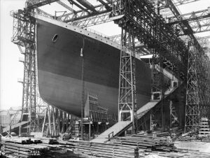 Completed construction of the Titanic - ready for launch