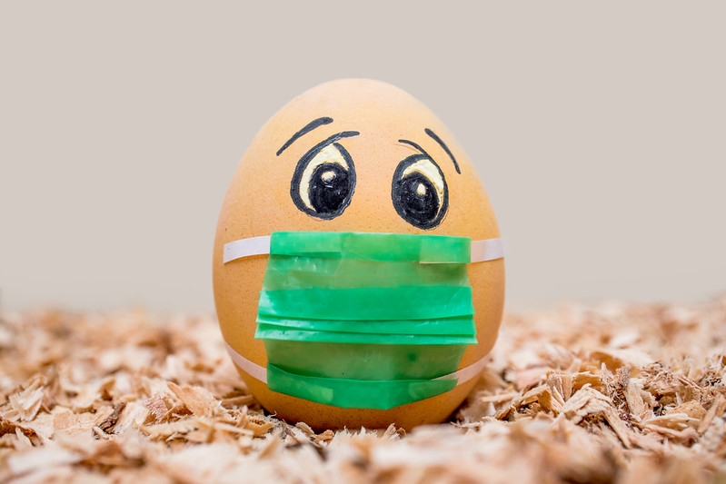 Picture of a not very resilient egg with a COVID mask